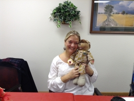 Diana is the winner of the GI Bear autographed by Lee Greenwood.JPG